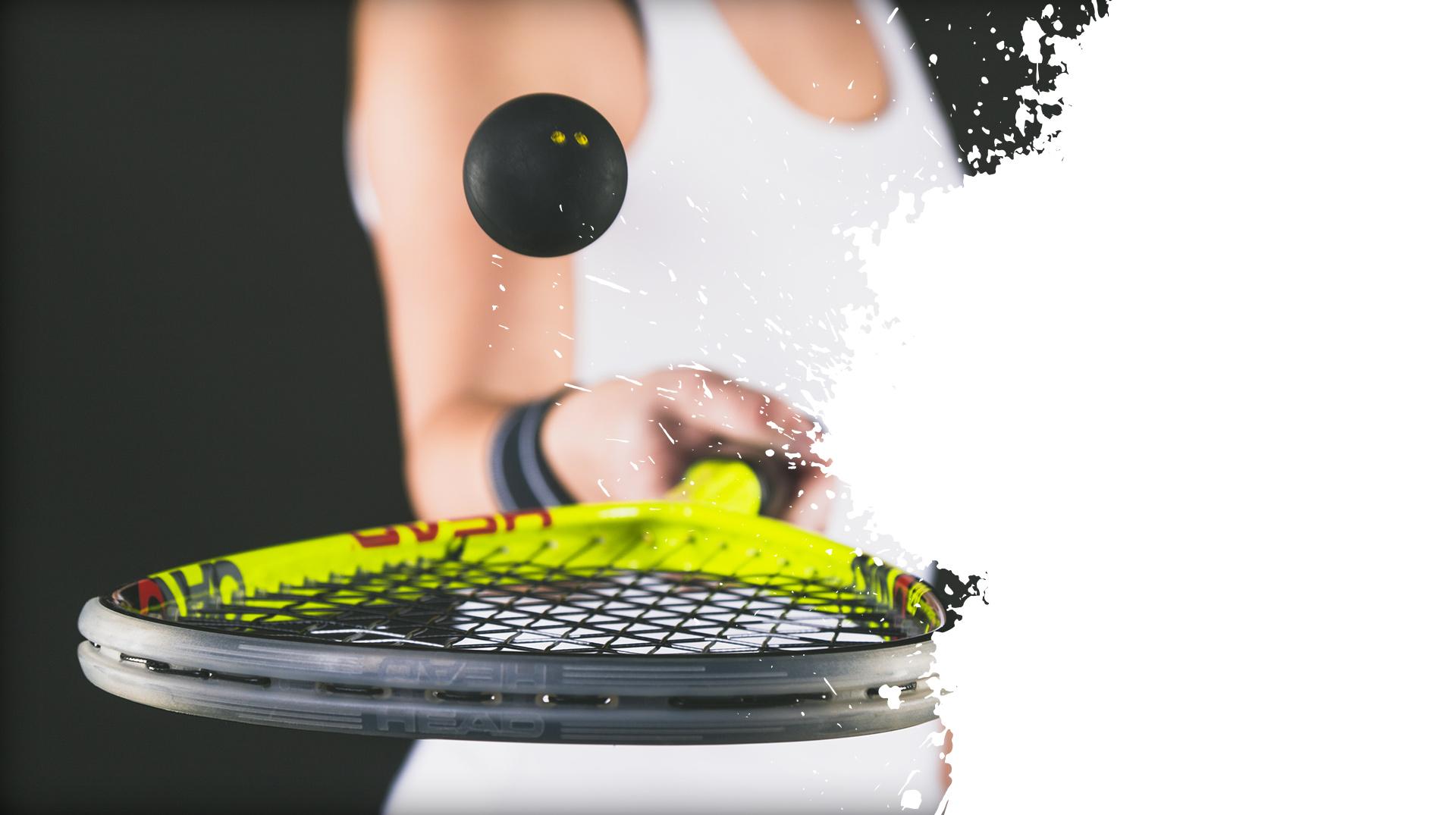 Balle et raquette de squash